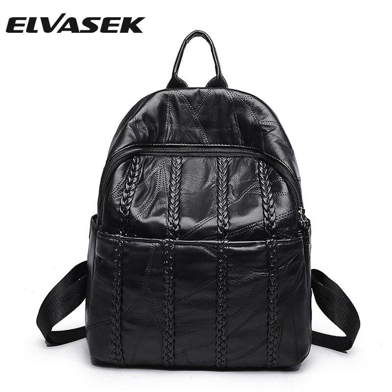 ELVASEK Genuine leather women backpacks Casual girls solid  popular school style versatile concise versatile women bags A3506/k<br>