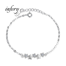 Infery 925 Sterling Silver Star Chain Link Bracelet for Women Couple Cubic Zircon Crystal Jewelry Birthday Gift 5Y369(China)