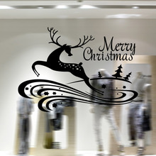 2016 Merry Christmas Deer Wall Sticker Happy New Year Decal Flowers Decorations Shop Window Home Decal 58x41cm CP1031(China)