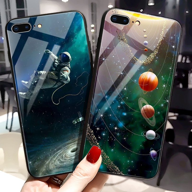 TOMKAS Luxury Space Cover Case for iPhone X Xs Max Xr Xs Glass Silicone Phone Case for iPhone 7 8 Plus Cases for iPhone 6 S 6s (8)