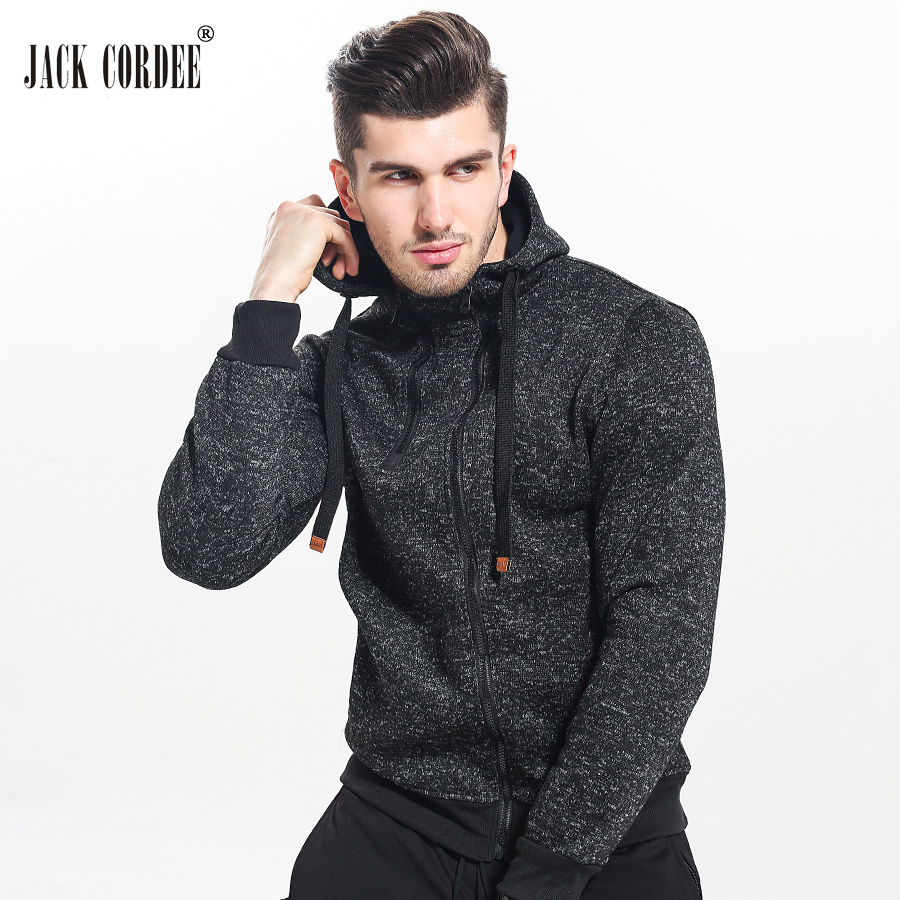 JACK CORDEE New 2017 Autumn Winter Fashion Hoodies Men Double Zipper Slim Sweatshirts Male Solid Casual Hooded Jacket(China (Mainland))