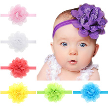 2017 Fashion Newborn Gauze Fascinator Lace Flower Headband Girls Headwear Hair Band Of Elastic Hair Accessories H080(China)