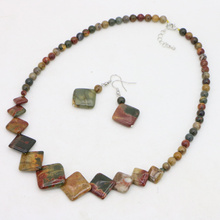 Women fashion Natural 6-20mm Multicolor Picasso Round & Square Beads Necklace Earrings beautiful girl love gift(China)