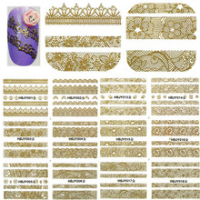 1 Set 12 Designs 3d Gold Flower Lace 3d Nail Art Stickers Decals Self Adhesive Nail Decorations DIY Beauty Tips BEHBJY001-018