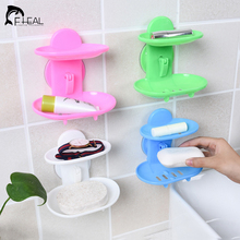 FHEAL New Kitchen Tools Bathroom Accessories Soap Holder Two Layer Suction Holder Soap Dish Storage Basket Soap Box Stand(China)