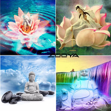 ZOOYA Diamond Mosaic 5D DIY Rhinestones Diamond Painting Religious Buddha Pictures By Numbers Wall Stickers Home Decor RF1230(China)