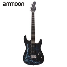 Dual Dual Pickups Electric Guitar Basswood Body Rosewood Fingerboard Cool Lightning Design with Gig Bag Picks Strap for Beginner(China)