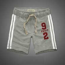 Anjoyfitch&kevin af Running Shorts Men Full Cotton Embroidery Keen Length Basketball Shorts With Pockets Drawstring Beach Shorts