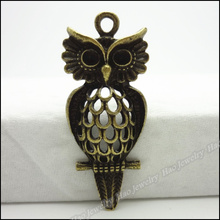 Wholesale 4 PCS ancient bronze Hollow owl alloy pendant charm DIY Women's fashion Bracelet Necklace jewelry Fitting