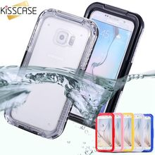 KISSCASE Cool Waterproof Transparent Case for Samsung Galaxy S6 S6 Edge Case Clear Diving Soft Back Strap Hard Phone Cover Shell