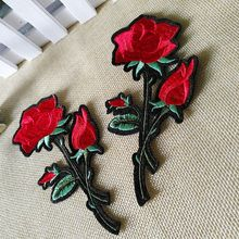 2Pcs Red Rose Patches Blossom Flower Applique Clothing Embroidery Patch Fabric Iron-on  Embroidered Patches 2017 Fashion