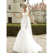Sexy Tulle Mermaid Wedding Dress Lace Up White/Ivory Marry Dresses Bridal Dresses Hot Sale In Stock Vestido De Festa Curto