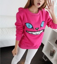 Free shipping 2016 Colored Zipper Smile Mouth Shoulder 3D Ear Cat Front Jumper coat Long Sleeve Fleece SweartShirt Top 8 Color