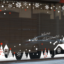 Large 2017 Christmas Art Wall Decal Coffee Shop Clothes Shop Salon Chrismas Wall Sticker Shop Xmas Glass Window Decoration