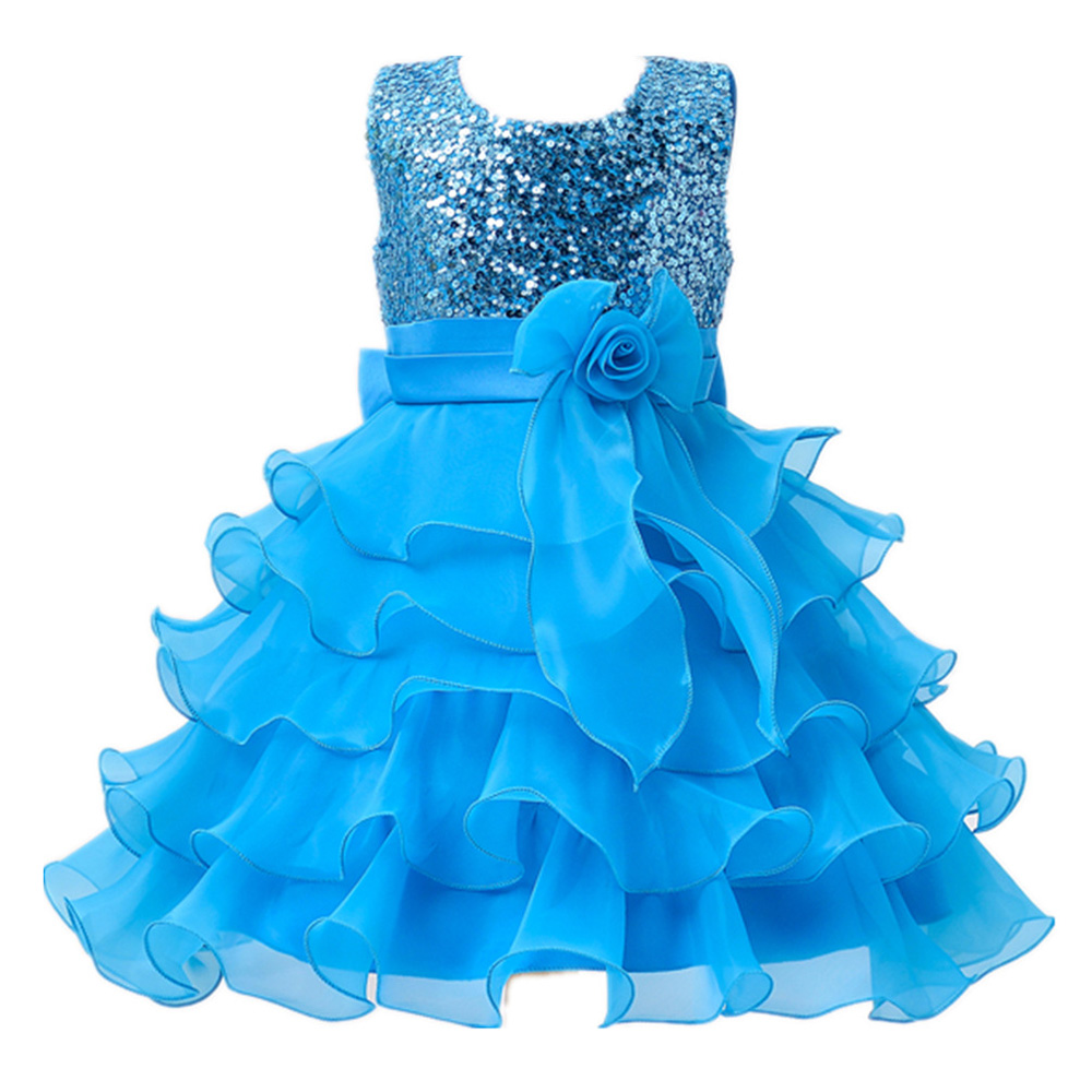2 to 13 Years Girls Clothes Girl Dress Purple Blue Red Dress Princess Dress Roupas Infantis Menina Flower Girls Sequined dresses<br>