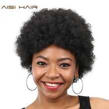 AISI HAIR Synthetic Short  Wigs for Black Women Curly Afro Kinky American with Heat Resistant Hairstyle