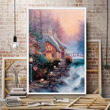 Thomas Kinkade Snow Mountains Nature Landscape River Art Silk Poster Home Decor Oil Painting 12x18 16X24 24x36 32x48 Inches(China)