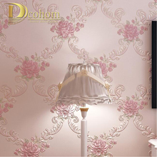 European Pastoral Damask Floral Wallpaper For Walls Bedroom Living room Decor Embossed Pink Purple 3D Flower Wall paper Rolls(China)
