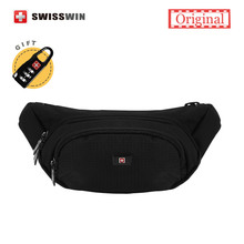 Swisswin Fanny Pack Male Waterpoof Waist Pack For Men and Women Black Travel Belly Bag For Mobile Phone Money Belt(China)