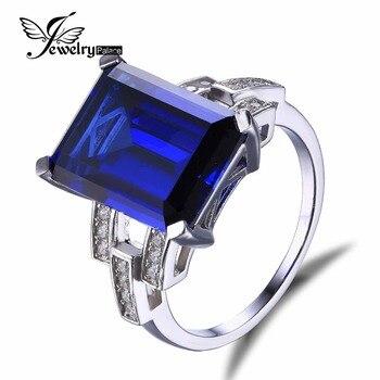 JewelryPalace Роскошные Изумрудный Cut 9.6ct Создана в Синий Сапфир Коктейль Кольцо Подлинная Кольцо Стерлингового Серебра 925 для Модных Женщин