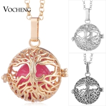 Vocheng Baby Chime Necklace Perfume Locket Tree of Life Pendant Copper Metal 3 Colors with Stainless Steel Chain VA-252(China)