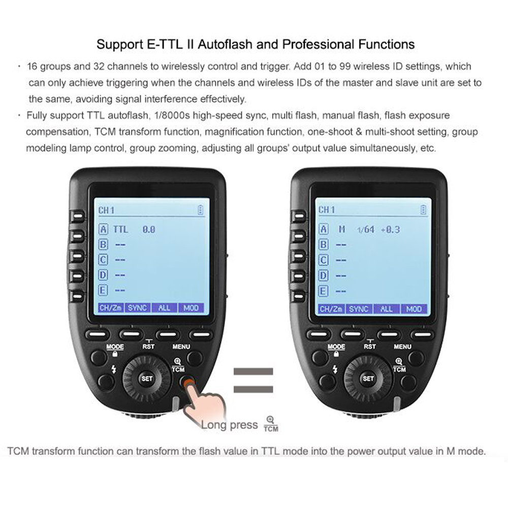 Pre-Sale New Arrival Godox E-TTL II 2.4G Wireless X system High-speed with Big LCD Screen Transmitter Xpro-C For Canon (48)
