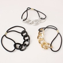 fashion Women Girls Hairband Korean Style Metal Chain Headband Elastic Hair Band Tie Gum For Hair Rope Rubber Band Ring