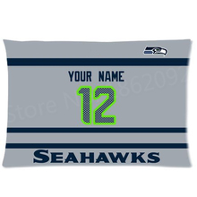 Custom Seattle Seahawks Away Football Pillowcase NFL Pillow Case Cover Ur Name Number Personalized Football Gift 20x30 Two Side