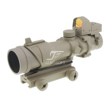 JJ Airsoft ACOG Style 4x32 Scope with Docter Mini Red Dot Light Sensor & Killflash / Kill Flash (Tan) FREE SHIPPING