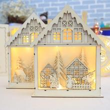 Merry Christmas Table Decorations Led Luminous Cabins Wooden Ornaments Kids decorations Gifts for home enfeites de natal #XTT