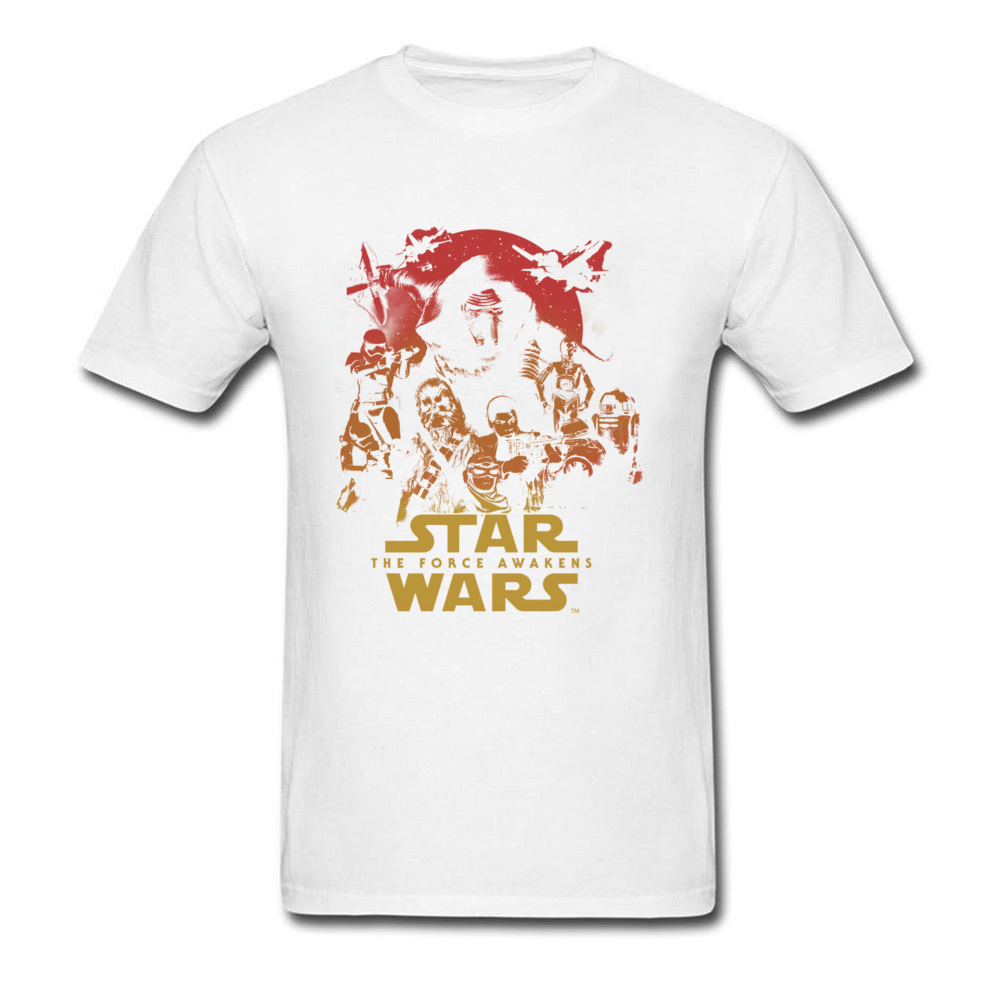 Force Awakens Poster Thanksgiving Day Pure Coon Crew Neck Tops Shirts Fashionable Tops Shirt New Coming T-shirts Force Awakens Poster white