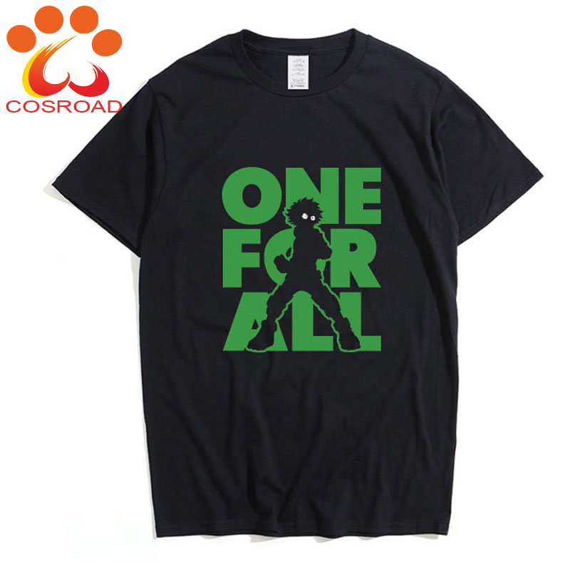 Cosroad Boku No Hero Academia Midoriya Izuku One for All T Shirt Men Cotton Summer T-shirts