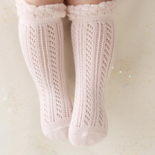 Sweet Newborn Baby Girl Socks Cotton Summer Infant Baby Knee High Socks for 0-4 Years White/Pink 1 Pair
