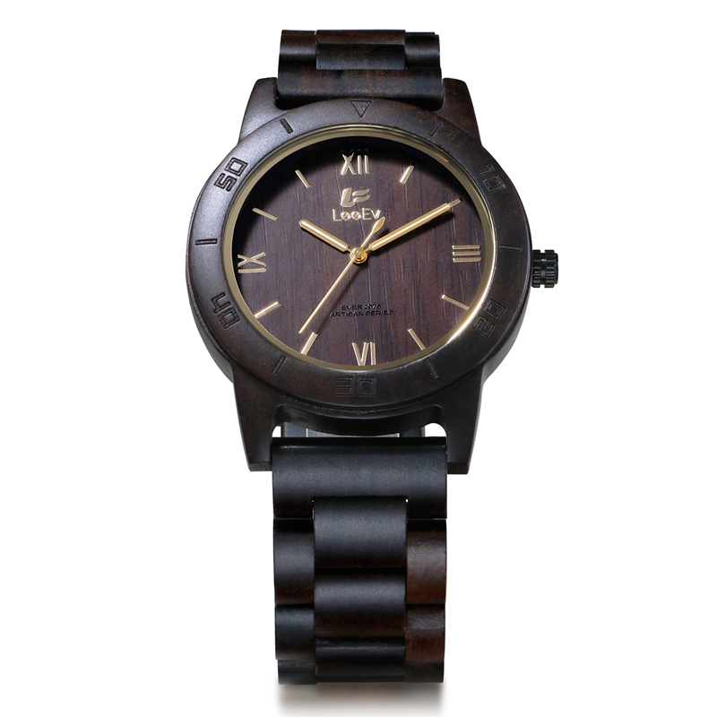 LeeEv Japanese Quartz Men Watch Nature Black Ebony Wood Fashion Casual Watches All Wooden Man Luminous Analog Wristwatch EV2075<br>