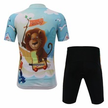 2017 Cool Girls and Boys Cartoon Cycling Jersey Set Short Sleeve Bike Clothing Kids Jerseys with Shorts Wear Breathable(China)