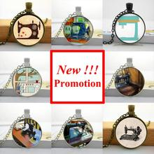 2015 New Fashion Sewing Machine Necklace Seamstress Art Jewelry Glass Cabochon Necklace Pendant