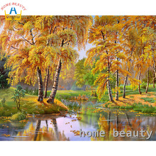 Diy painting calligraphy oil pictures by numbers trees river wall canvas brush drawing by number acrylic paint painting Y116(China)