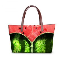 High Quality Women Handbag 3D Fruits Watermelon Printing Ladies Top Handle Bags,Large Capacity College Girls Satchels for Travel