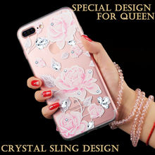 Daisy Rose Flower Diamonds Decoration Pink Color Bling Lady Mobile Phone Case for iphone 7 7Plus Luxury Crystal Bracelet Strap