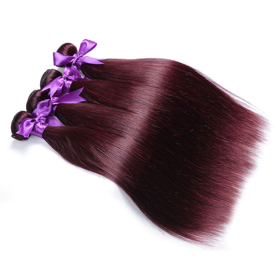 Pinshair Burgundy Straight Hair Bundles Deals Human Hair Weave 4 Bundles Non Remy Pre-colored Brazilian Hair Extensions No Smell (55)
