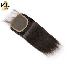 KL Hair 5x5 Straight Lace Closure Free Part Human Hair Natural Color Brazilian Remy Hair Closure With Baby Hair Bleached Knots(China)