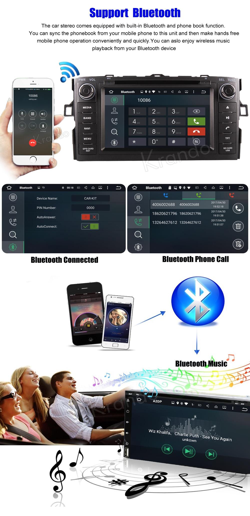Krando toyota auris corolla hatchback Android car radio gps navigation multimedia system (9)
