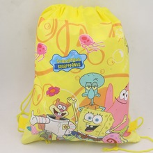10 pc Non-Woven Fabric Drawstring Bags Birthday Theme Backpack Sponge Bob bag for Boy Girls Favors Gift Party Decoratios(China)