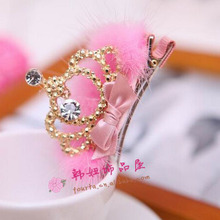 Wholesale winter Style Gold Crown with CZ and Mink Fur children Hairpins baby Hair Accessories Girls tiaras hair clip