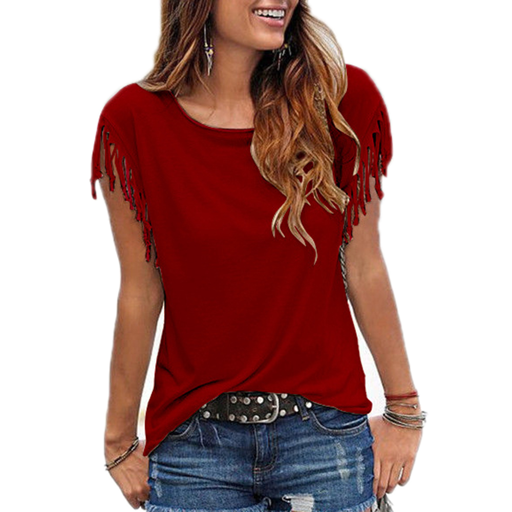 Women-Cotton-Tassel-Casual-Blouses-Short-sleeved-Solid-Color-Shirts-Top-Short-Sleeve-O-neck-Women (1)