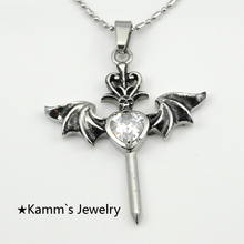 Quartz crystals heart wings sword Crown 316L stainless steel crystal point pendant Biker halloween charms jewellery KP088
