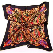 April Printed 100% Silk Scarf, Square 90 Silk Twill Scarfs ,Women's Hand Rolled Edge Quality Silk Scarves Wraps Shawl