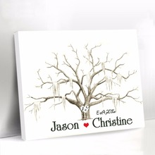 White Canvas Fingerprint Tree Guest Book for Wedding Custom Guest Book with Bride Groom Name Baby Shower Signature Guestbook(China)