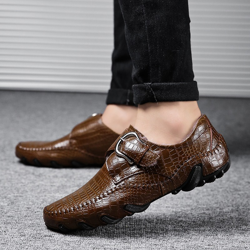CIMIM Brand Mens Casual Shoes Large Size Winter Warm Plush Men Loafers Crocodile Pattern Fur Moccasins Genuine Leather Male Shoe<br>