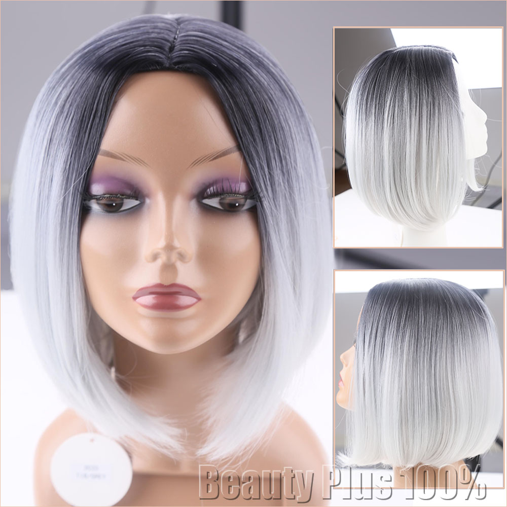 Synthetic hair Short Straight Grey Bob wig Ombre Lace Front hand tied Beyonce Glueless kanekalon hair gray wig For Black Women<br><br>Aliexpress